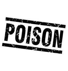 Square grunge black poison stamp vector
