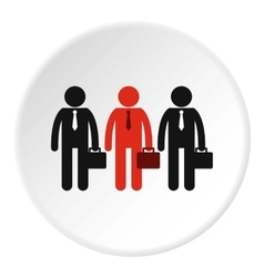 Three employees icon flat style vector image