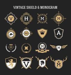 vintage monogram and shield elements vector image vector image