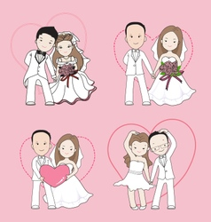 Wedding cartoon bride and groom with happy face vector