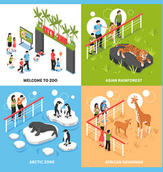 zoo 2x2 isometric design concept vector image vector image
