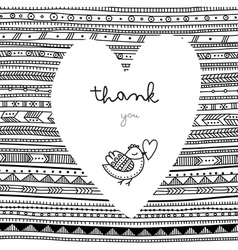 Thank you white heart on ethnic background card vector image