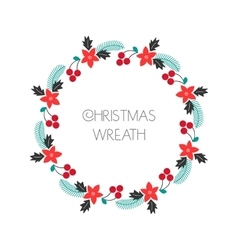 Season greeting wreath with rowanberryfir vector