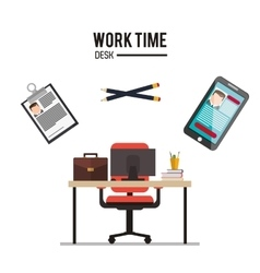 Work time and office supplies design vector