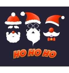 Santa hat moustache and beard vector image