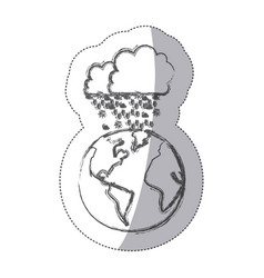 sticker blurred silhouette earth world cloud with vector image