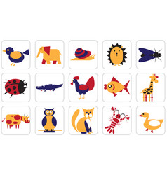 Geometric icons animals insects and birds vector