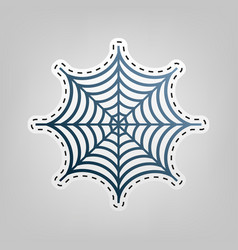 spider on web   blue icon with vector image