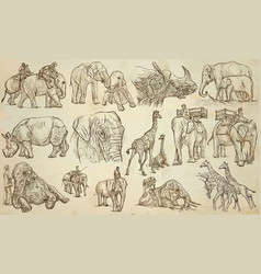 Big and heavy animals - an hand drawn pack line vector