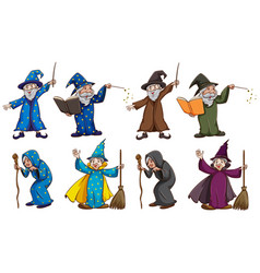 Witch and wizard with magic wand vector