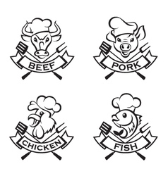 Collection of grill labels vector