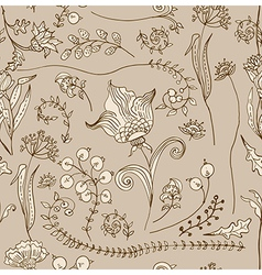 Seamless doodle tender floral background vector