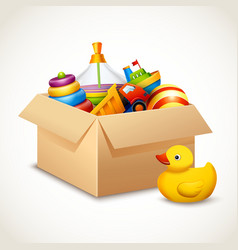 Toys in box vector