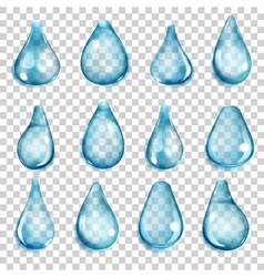 Transparent light blue drops vector