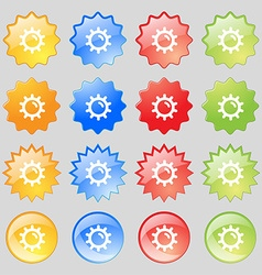 Sun icon sign set from sixteen multi-colored glass vector