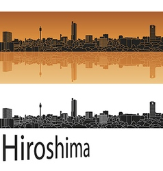 Hiroshima skyline in orange vector