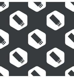 Black hexagon usb stick pattern vector