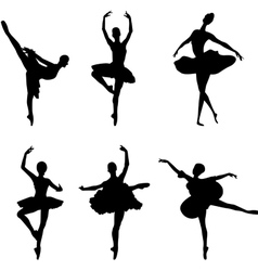 Ballet dancer silhouettes vector