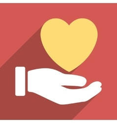 Heart charity hand flat long shadow square icon vector