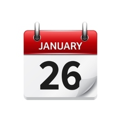 January 26 flat daily calendar icon date vector