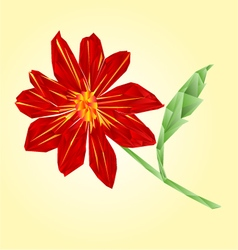 Red dahlia polygons summer flower stem vector