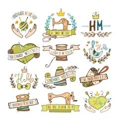 Set of hand drawn logos vector image