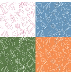 Four cute doodle baby seamless patterns vector