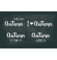 Autumn white handwritten set Autumn logos and vector image