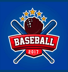 baseball logo design with crossed bats leather vector image vector image