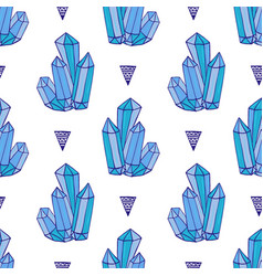 blue crystals seamless pattern minerals rocks vector image vector image