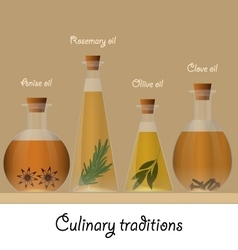 Bottles of anise olive rosemary and clove oil vector