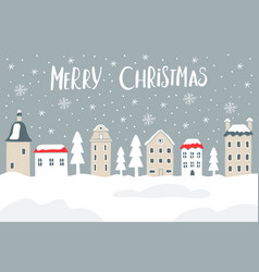 Christmas card with city and snow vector