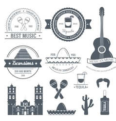 Country mexico label template of emblem element vector