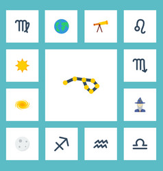 Flat icons water bearer earth planet augur and vector