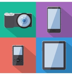 Flat Style Gadgets With Long Shadow Set vector image