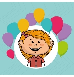 girl balloons party cartoon vector image