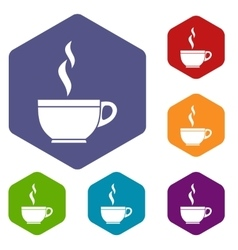 Glass cup of tea icons set vector image