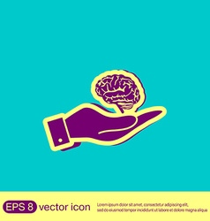 hand holding a Brain Mind and science vector image