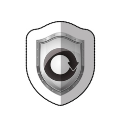 Middle shadow sticker of shield with reuse symbol vector