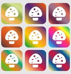 mushroom icon sign Nine buttons with bright vector image