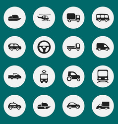 Set of 16 editable transport icons includes vector