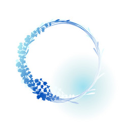 Silhouette of lavender wreath in blue colors vector