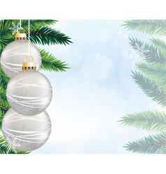Silver christmas decorations and pine branches vector