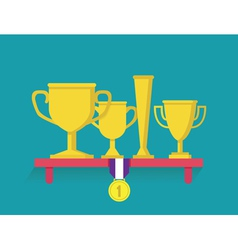 Trophy and awards on shelf vector