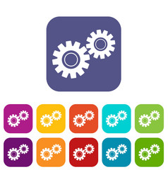 Two gears icons set flat vector