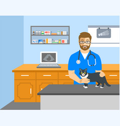 Veterinarian doctor holds cat on examination table vector