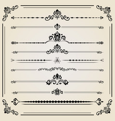 vintage set of ector horizontal elements vector image vector image