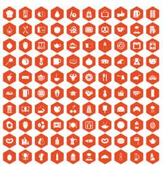 100 breakfast icons hexagon orange vector