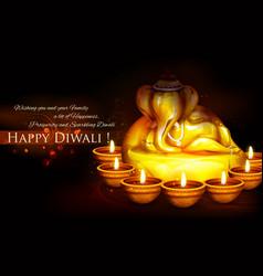 Ganesha with diya on happy diwali holiday vector