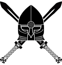 medieval helmet and swords vector image